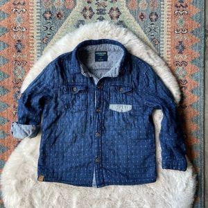 Osh kosh kids button down shirt double weave gauze like material size 5T blue